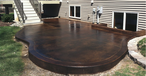 Rich, Dark, Chocolate Brown Concrete Patio.