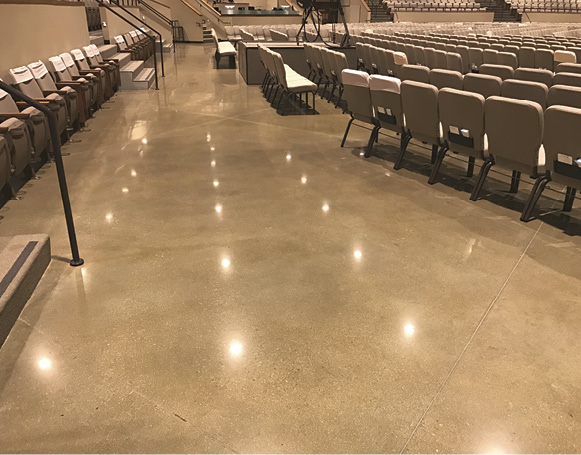Various color choices were evaluated by the owner, with mockups created in portions of the building where the concrete floors would be carpeted over.