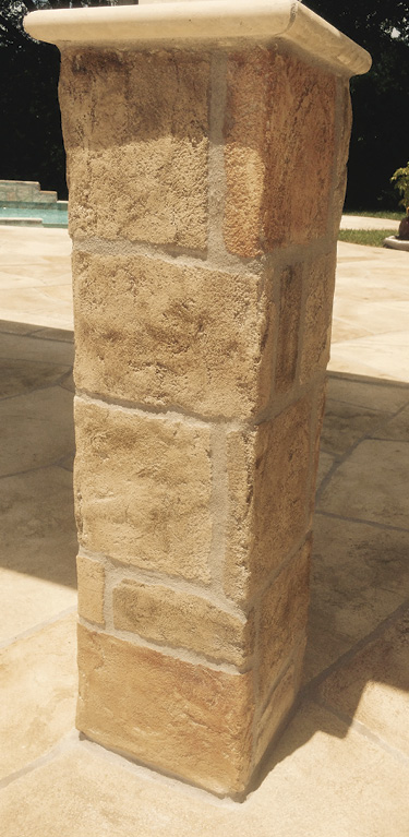 On vertical applications, a limestone overlay can be applied up to 3/4 inch thick. Photos courtesy of Chris Sullivan