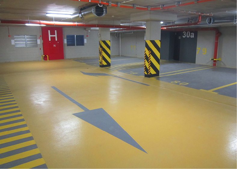 "In the category of LEED credits for coatings, Flowcrete references its Deckshield car-park protection systems, designed to meet ""contemporary requirements for upmarket car-park environments"""
