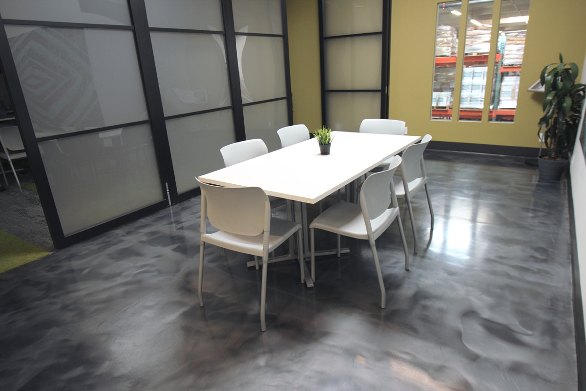 Westcoat's lunchroom at the company's headquarters has a plywood substrate that was transformed into an epoxy floor with the ALX Interior system and Liquid Dazzle. Photos courtesy of Westcoat Specialty Coating Systems