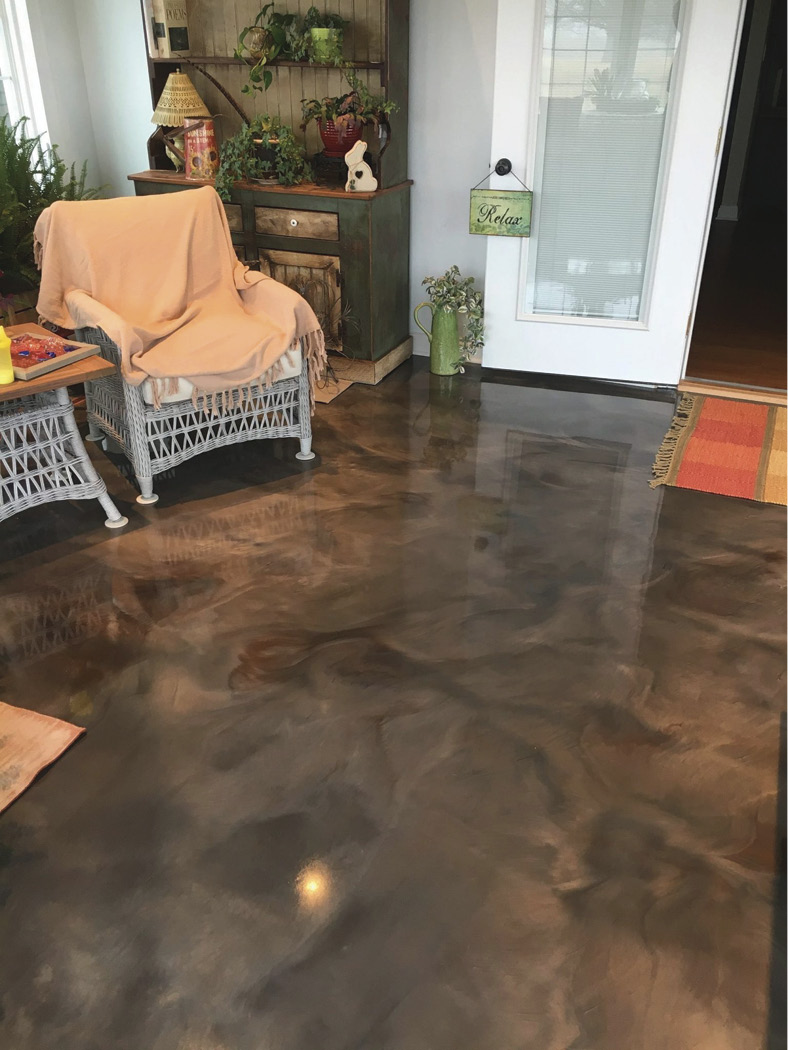 "etallic epoxy flooring ""is all about light,"" SureCrete notes. The surface reflects light to generate ""an overall increase in energy"" and the floor ""expands the amount and quality of light in the room."""