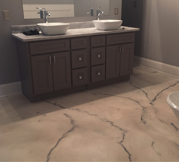 His primary market is high-end residential, and he enjoys meeting with the homeowners and walking them through the design process. Last year, Lynch installed 65 stained floors in new homes for one builder. All had a similar color palette and only seven of them were scored.