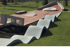 skate park with huge ribbon of wavy concrete