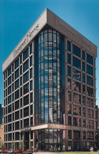 The former Deseret News building at 30 East 100 South was built in 1997 using glass fiber reinforced concrete