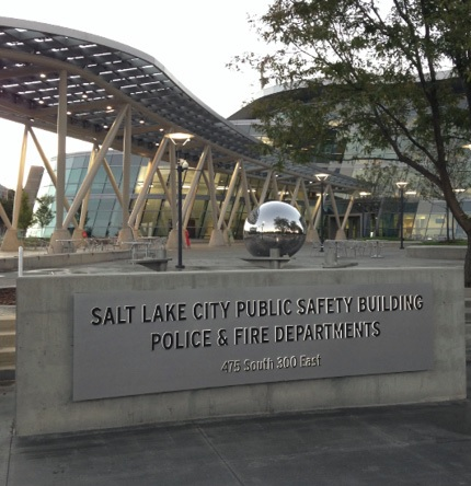 The Salt Lake City Public Safety Building at 475 South 300 East was built in 2013 and was the first net-zero LEED Platinum-certified public safety building in the nation.