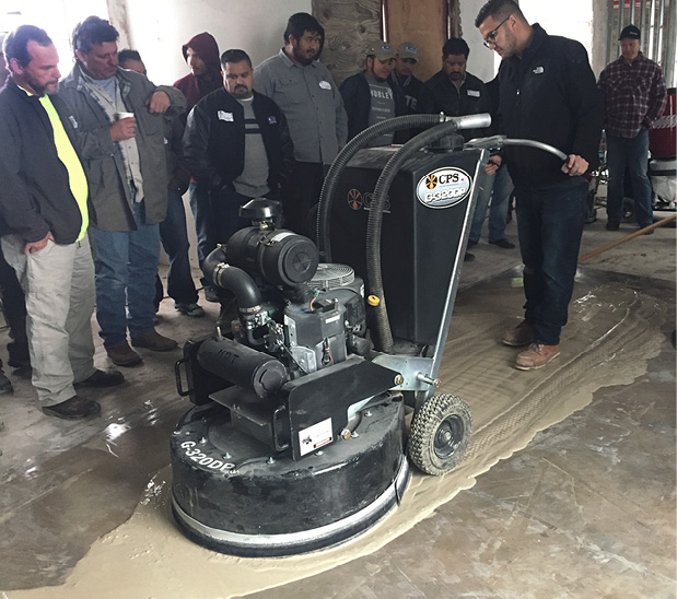 As part of its training circuit, Runyon Surface Prep demonstrates a wet grinding method at a recent demonstration in Houston. For many grinding applications, the best method for controlling dust is with water. However, using a wet application means the slurry — which can become dust as soon as it dries — will have to be safely managed.