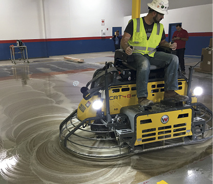 Ride-on power trowels from several different manufacturers can be adapted for concrete grinding/polishing with the Concria system.