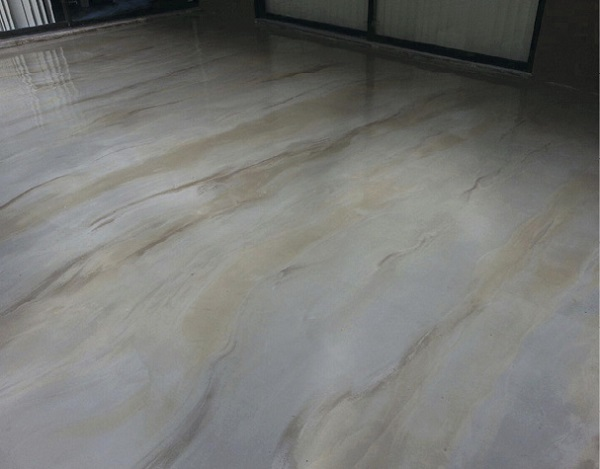 polished marble-like surface from using a self-leveling topping by Increte Systems.