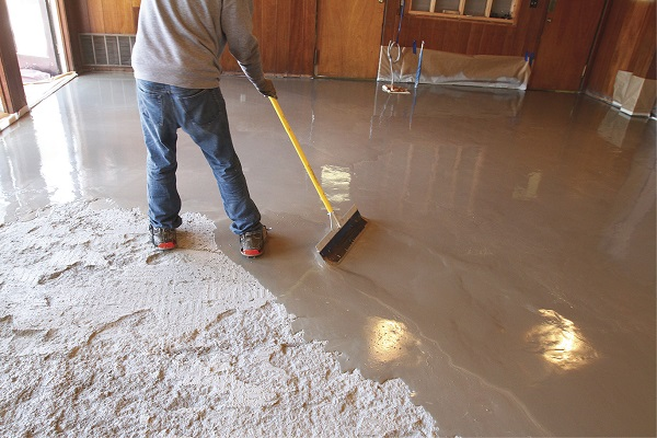 Self leveling concrete toppings provide a shortcut to a for Concrete floor leveling