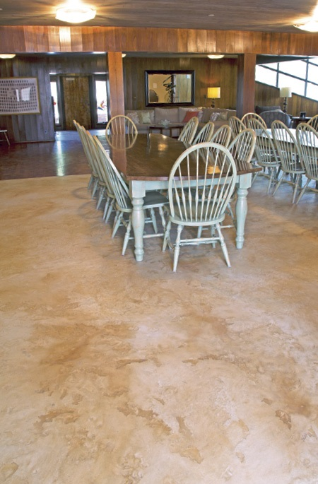 Table and Chairs in a dinning hall on a self-leveling topped concrete floor.