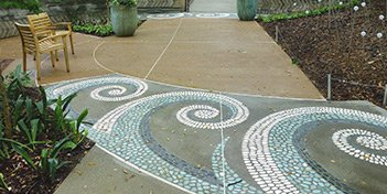 Based on plant morphology, the mosaic patterns were designed by ABG's Landscape Design and Planning Manager. T.B. Penick helped translate the conceptual sketches into full construction documents, including stone color, size, arrangement and installation methodology.