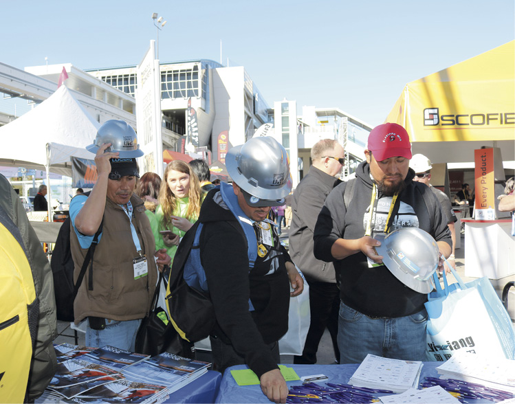 Crowds gather near Concrete Decor's Decorative Concrete Live at world of concrete 2018.