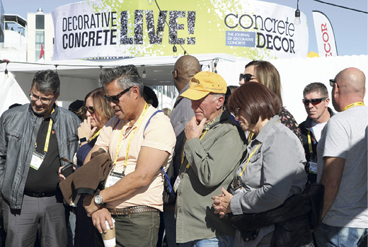 Crowds gather to watch sponsors work on concrete projects at Concrete Decor's Decorative concrete Live at World of Concrete 2018.