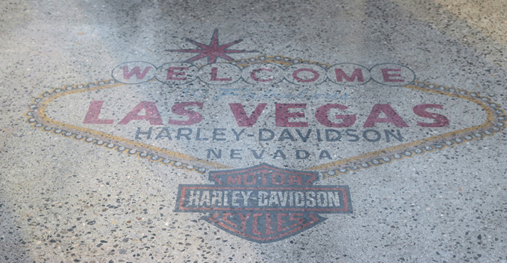 Harley Davidson logo on a polished concrete floor at Concrete Decor's Decorative Concrete Live at World of Concrete 2018.