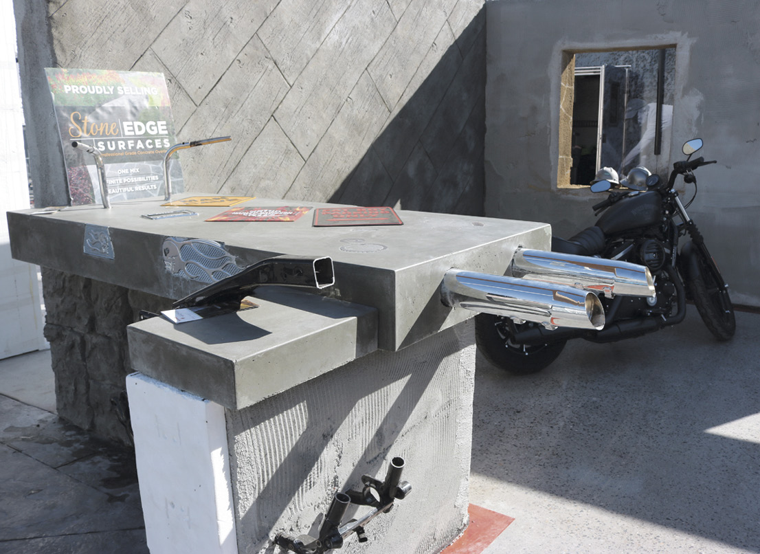 Harley-Davidson inspired concrete countertop at Concrete Decor's Decorative Concrete Live at World of Concrete 2018.