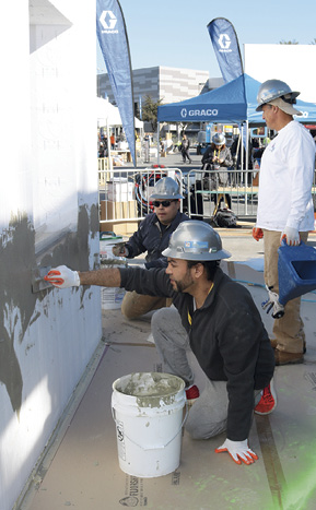 Johnny Angel applies a product by Multicoat at Concrete Decor's Decorative Concrete Live.
