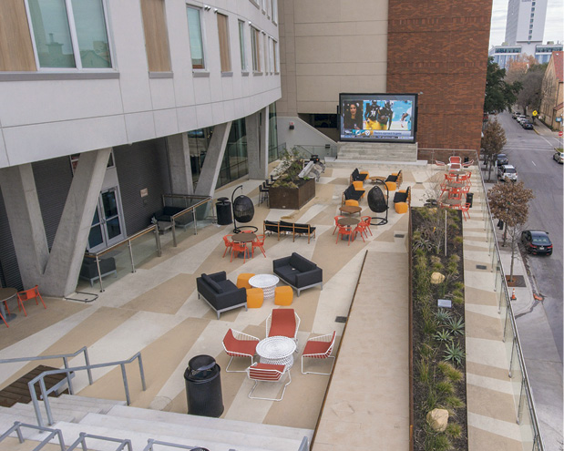 The Student University Housing, a 20-story high-rise one block from the west campus of the University of Texas at Austin, involved 6,500 square feet of overlayment.