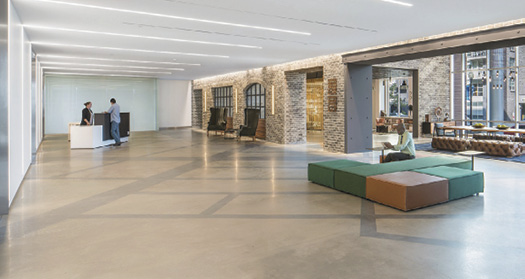 When the owner of 80 M St., a busy LEED Gold 285,000-square-foot building in Washington, D.C., decided to renovate the lobby, he went with polished concrete.