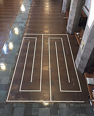 As part of resurfacing and staining a floor for a church in St. Louis, a prayer walk was installed. The feature is a labyrinth colored differently than the main floor in a pattern that included detailed lines as pathways to walk in prayer and meditation.
