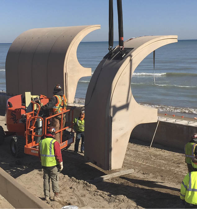 IllinoisA cresting wave cast in concrete — that was the architect's solution to the threat of real waves crashing from Lake Michigan