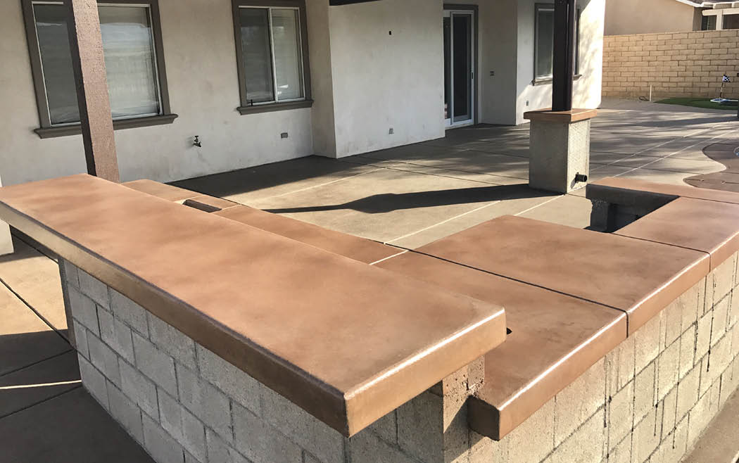 Work in progress - outdoor kitchen space with concrete countertops.