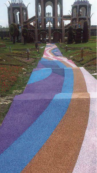 Integrally colored pervious concrete in multiple hues livens up walking paths at the Pujiang Country Park in Shanghai, China. Photo courtesy of Orangestone Construction Technology