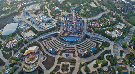 More than 1 million square feet of decorative concrete was installed at the Shanghai Disney Resort that opened in 2016 in Pudong, Shanghai, China. Photo courtesy of The Walt Disney Co.