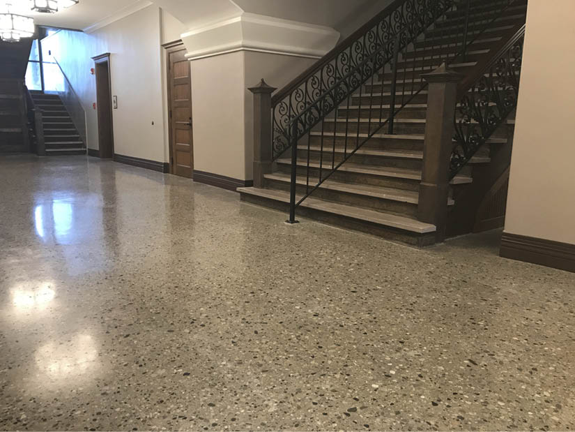 iridian Architectural Design initially wanted to resurface the ground floor of the circa 1875-1895 Fulton County Courthouse in Rochester, Indiana. Photos courtesy of Dancer Concrete Design