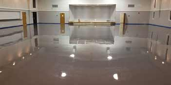 Epoxy coated gym floor.