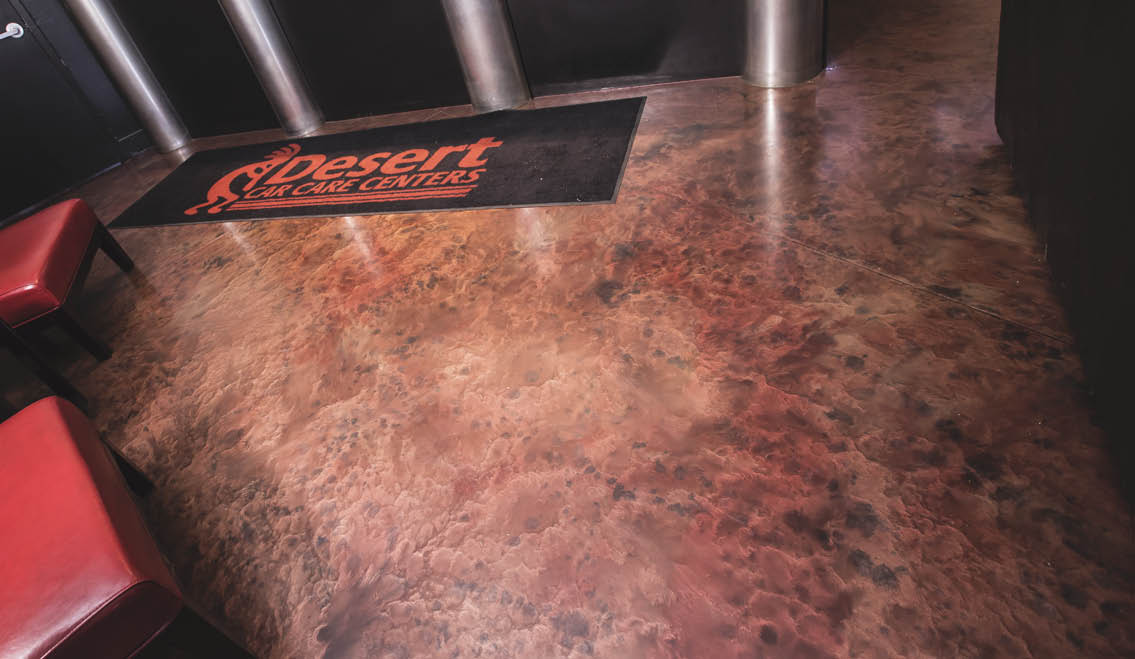 Mottle rust and black epoxy floor coating using metallics