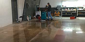 Conducting tests on the polished concrete.