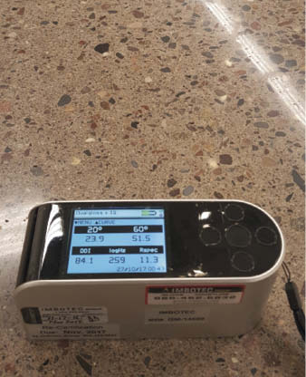 Shown here is a meter that registers a DOI of 84.1, reflecting the clarity of a KickStart finished floor.