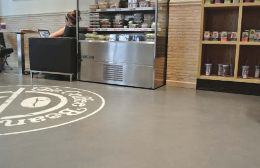Dominick Cardone of Diversified Decorative Finishes in Brooklyn used Duraamen's Skraffino concrete microtopping in The Coffee Bean, a New York City coffee shop. The floor was integrally colored with a custom blend of Duraamen's Colorfast and coated with a clear water-based epoxy, followed by two coats of a water-based matte polyurethane with 240 mesh nonskid additive.