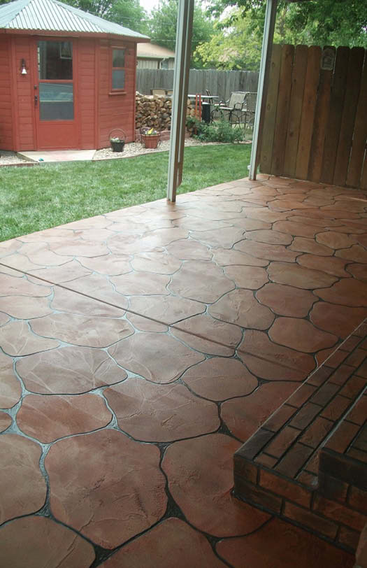 McKinnon's McKrete overlay is an acrylic and epoxy cementitious material that can be installed on existing concrete in a wide variety of stencil patterns and colors.