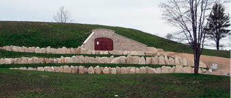 Mari Vineyards' wine cave exterior, Traverse City, Michigan.