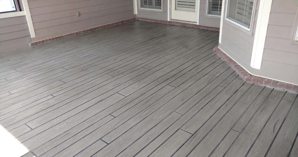 Woodplank concrete on an outdoor deck.