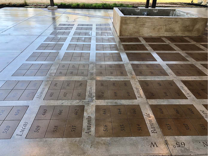 The intricate scoring was done by Carlos Acosta from American Concrete Concepts. American Concrete also completed the polished concrete on the interior of the museum.