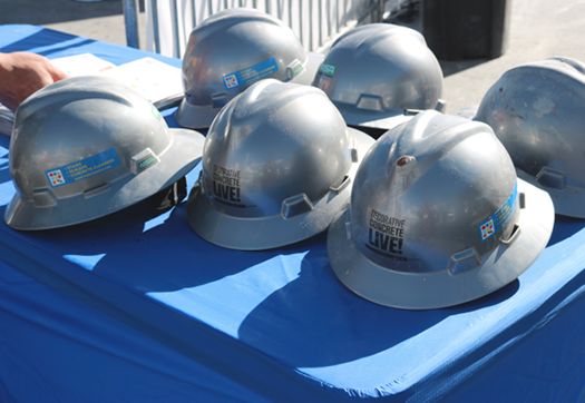"MSA Safety provided helmets for artisans and attendees at Decorative Concrete LIVE! in Las Vegas earlier this year. The need for such a ""lid"" on many job sites can't be stressed enough. It should be fitted to the wearer and replaced regularly."