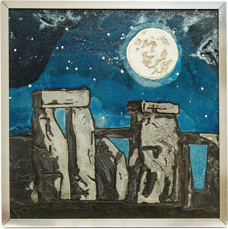 A depiction of stonehenge painting with a moon glowing above in concrete.