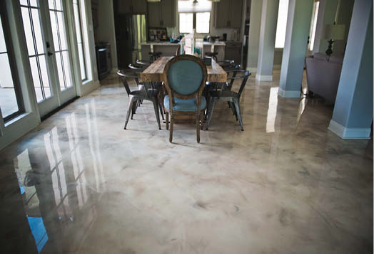 Marble-like concrete overlay look on dining room