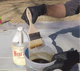 How to properly dip a brush for acid stain.