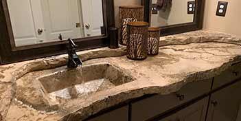 Concrete sink and countertop bathroom vanity