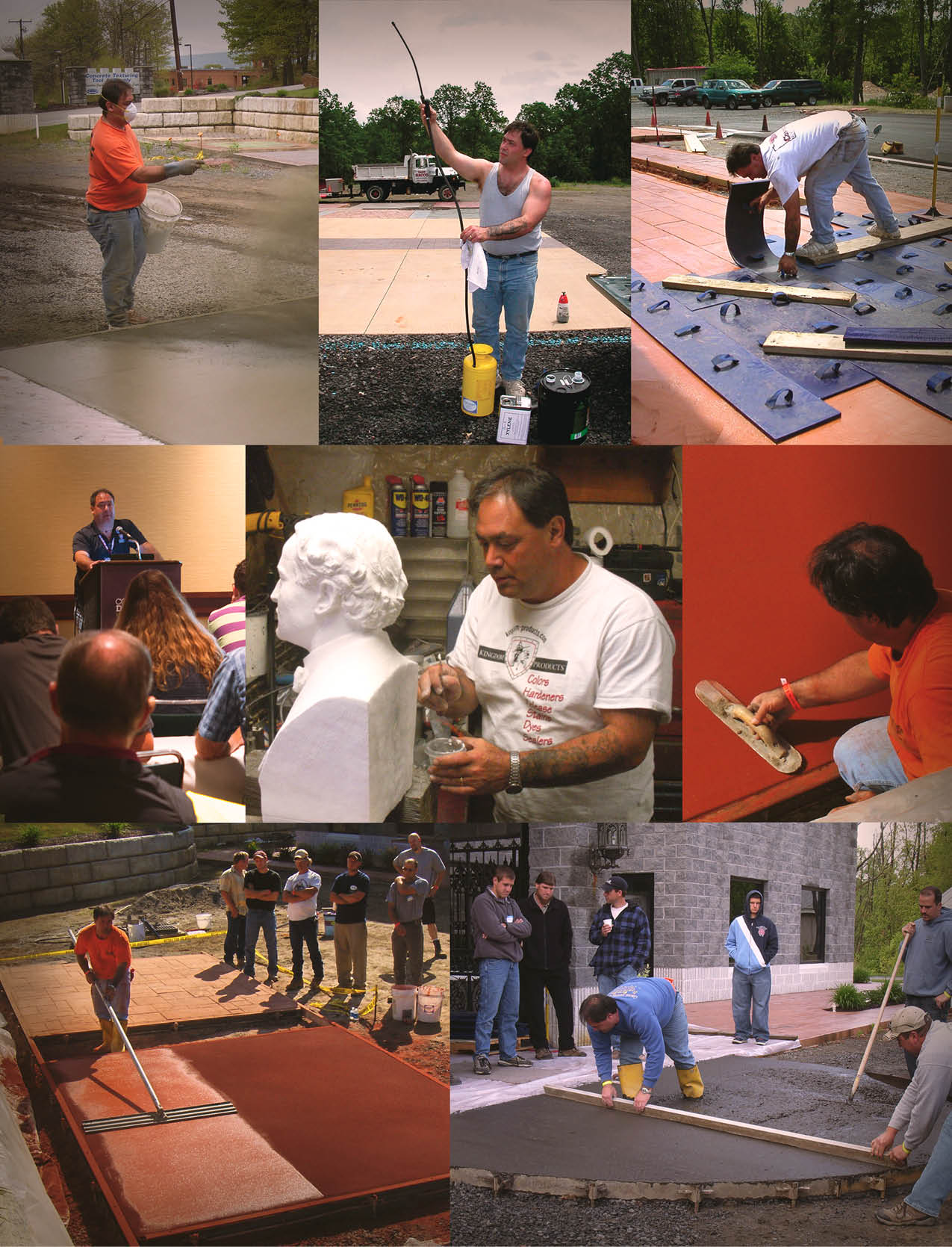 A montage of Bart Sacco in the decorative concrete industry over the years.