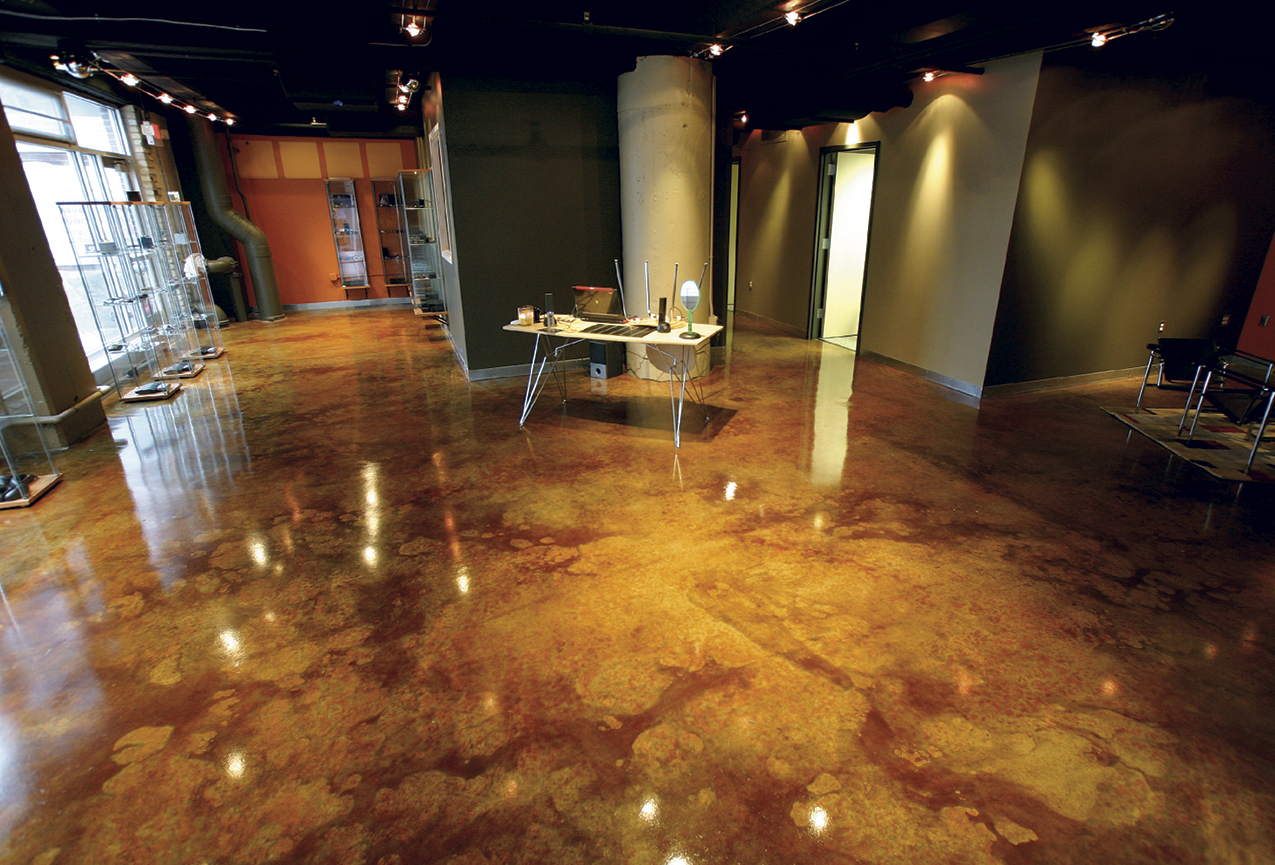 After allowing concrete to properly dry and cure, a surface can be stained and sealed with stunning results.