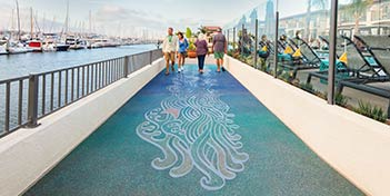 Boardwalk at Kona Kai Resort using stenciled concrete