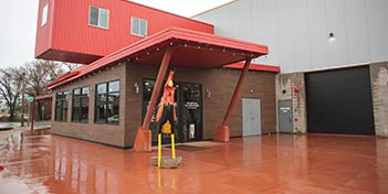Front entrance of Rooster Brewery in Ogden, Utah.