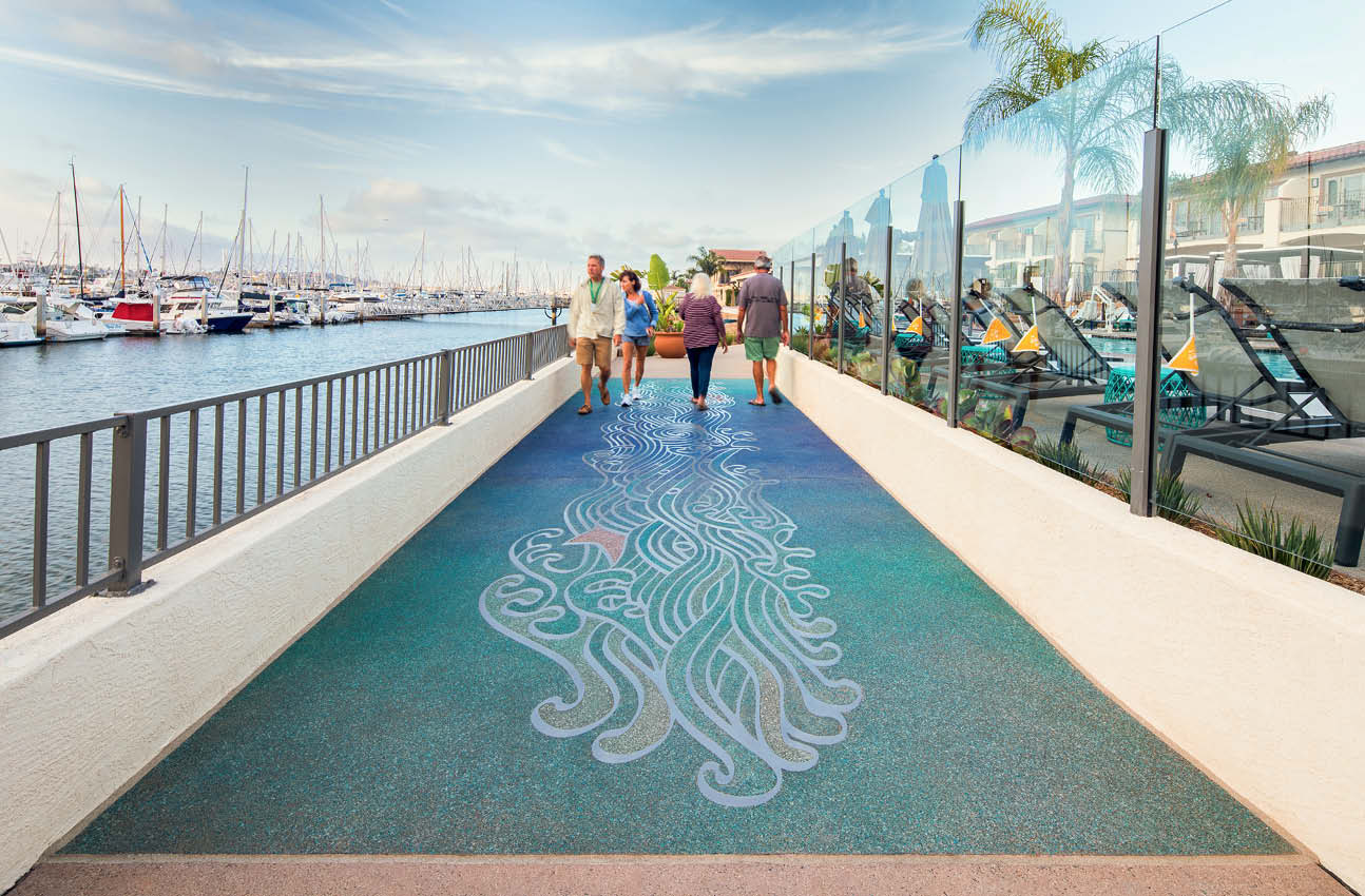 This boardwalk at the Kona Kai resort in San Diego netted T.B. Penick & Sons a second-place win in the 11th annual competition sponsored by the American Society of Concrete Contractors Decorative Concrete Council. The category was Cast-in-Place Special Finishes, Under 5,000 Square Feet.