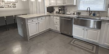 Concrete Overlays in a kitchen with concrete countertops