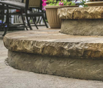 Butterfield's one-piece cantilevered cut stone edge and textured riser lets you create realistic-looking stone steps without complex forming.